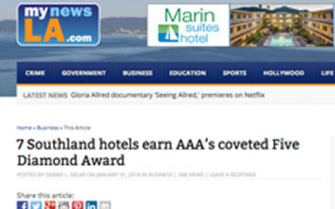 screenshot of the my news la article about marin suites hotel