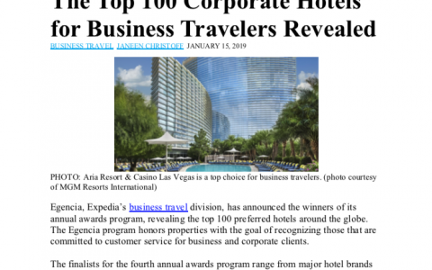 The Top 100 Corporate Hotels for Business Travelers Revealed