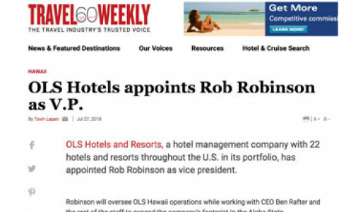 OLS Hotels appoints Rob Robinson as V.P. - Travel Weekly
