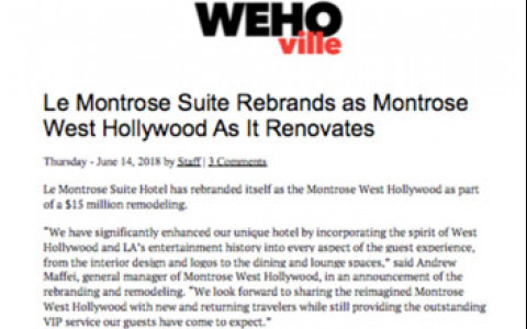 Le Montrose Suite Rebrands as Montrose West Hollywood as it renovates