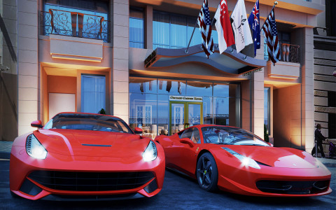 Luxury cars parked outside of property