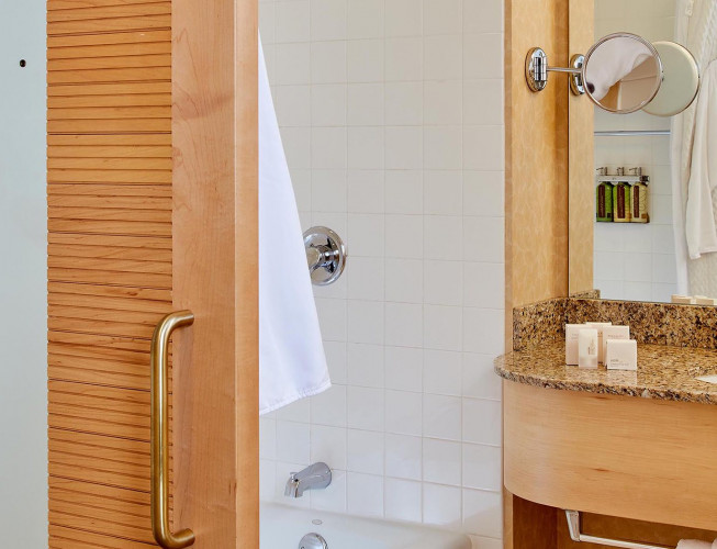 King Bathroom with wooden accents