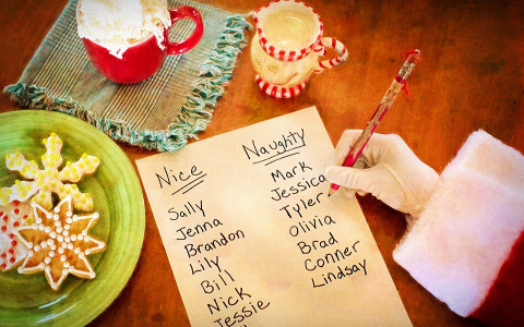 Santas Hand Writing Out Naughty and Nice List