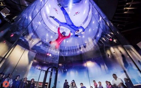 two men virtual indoor skydiving