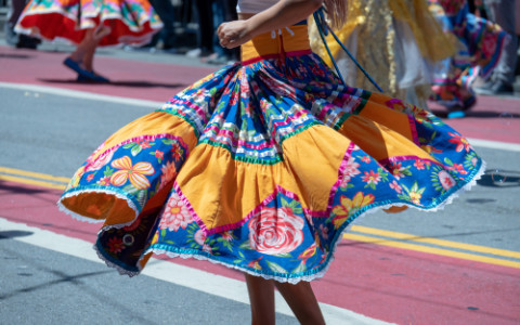 woman in mexican skirt