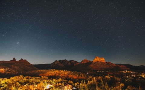 red rock mountains at night