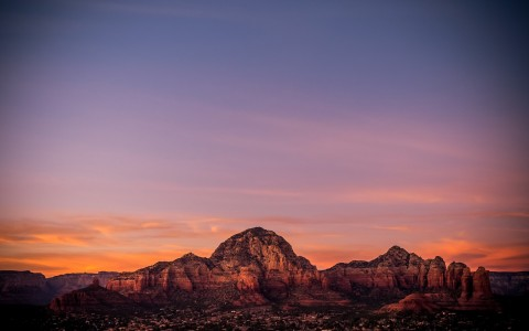 view of the red rocks at sunrise