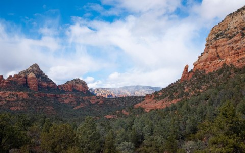 view of the red rock mountains