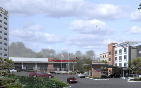 Rendering of DoubleTree by Hilton with convention center attached next to a Fairfield Inn and Suites hotel