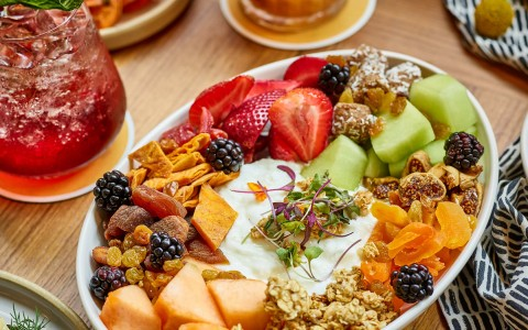 colorful board filled with breakfast