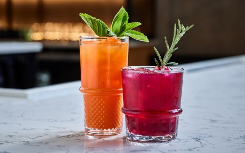 two red and orange cocktails with green garnish
