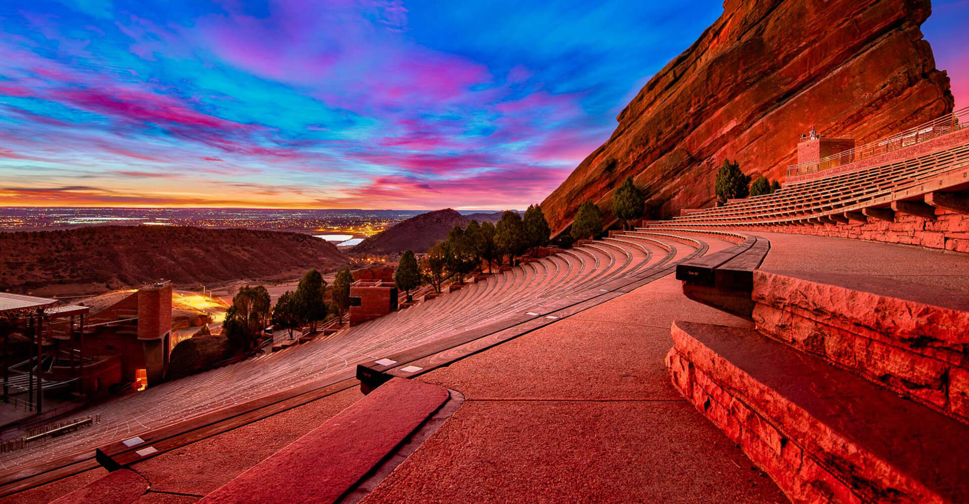 red rocks with blue and pink skies