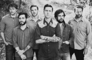 Black  White Photo of the American Aquarium Band