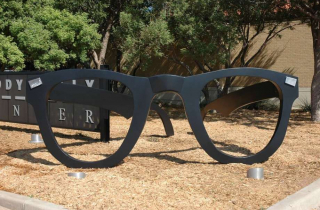 Giant Glasses Sculpture at the Buddy Holly Center