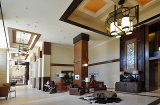 western themed seating area in lobby of hotel