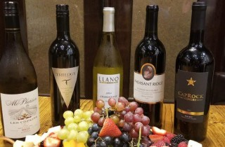 Texas Wines with grapes and fruit