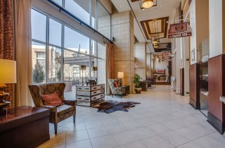 overton hotel lobby and entry way to pecan grill restaurant