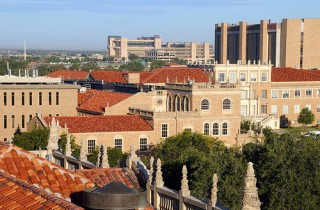 overview of buildings in Texas, blue sky and green trees