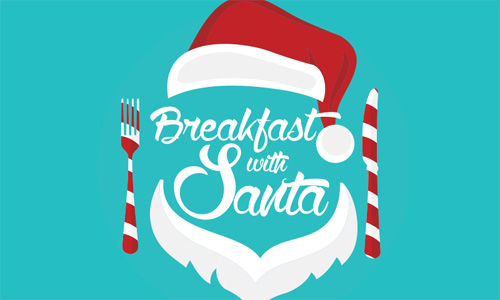text that says Breakfast with santa surrounded by a santa hat, beard, fork and knife