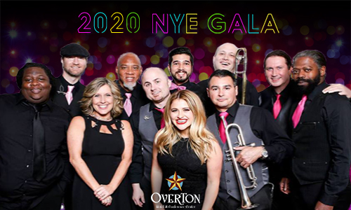 text that says 2020 NYE gala with a group of 11 people posing together