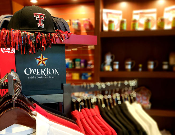 Texas tech hats and polo shirts on display in gift shop
