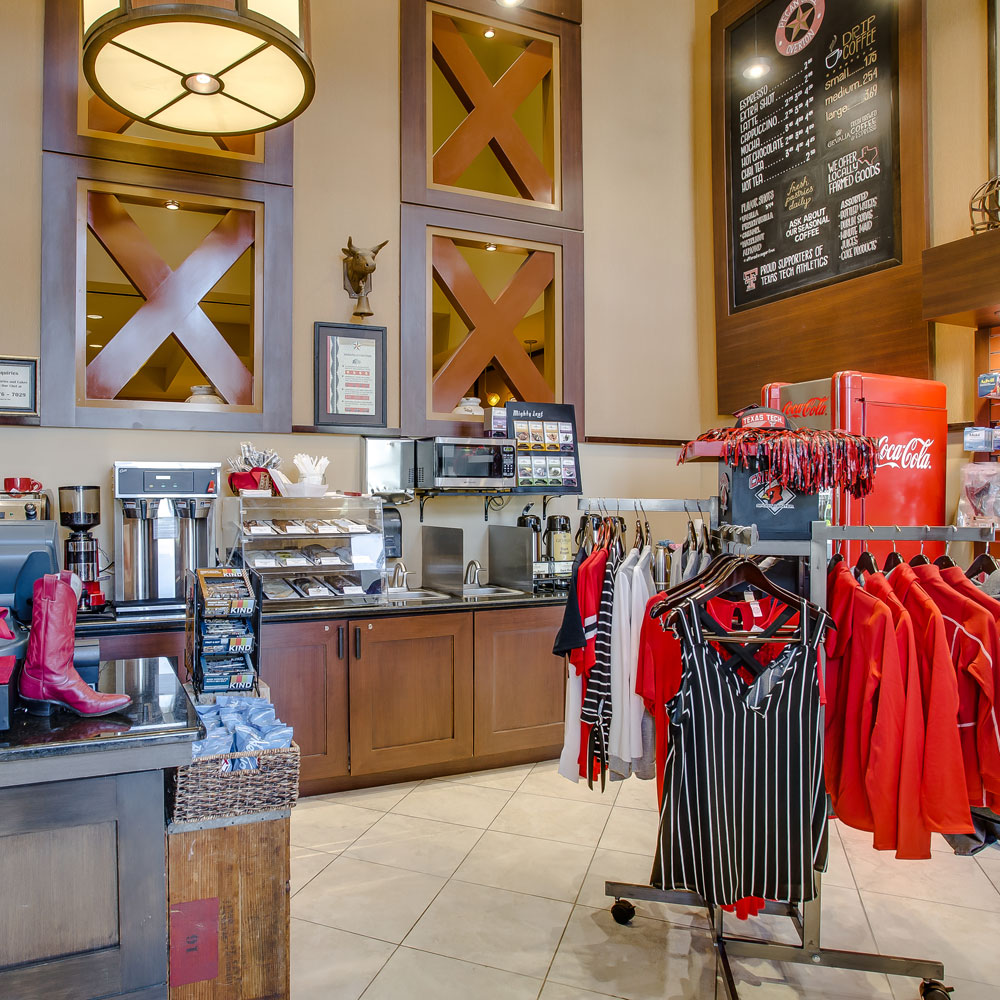 gift shop with clothing, coffee and snacks