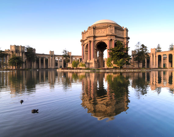 Palace Fine Arts over the lake