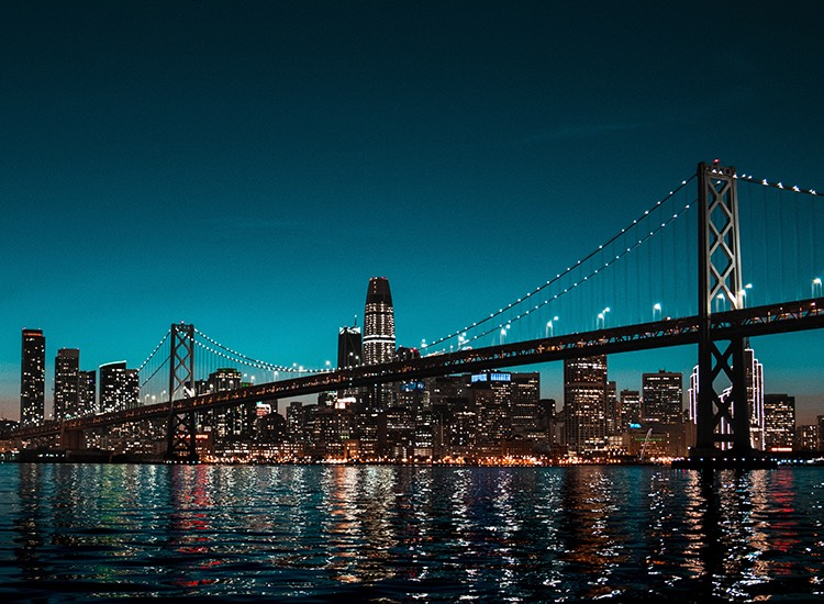 a bridge at night in an francisco