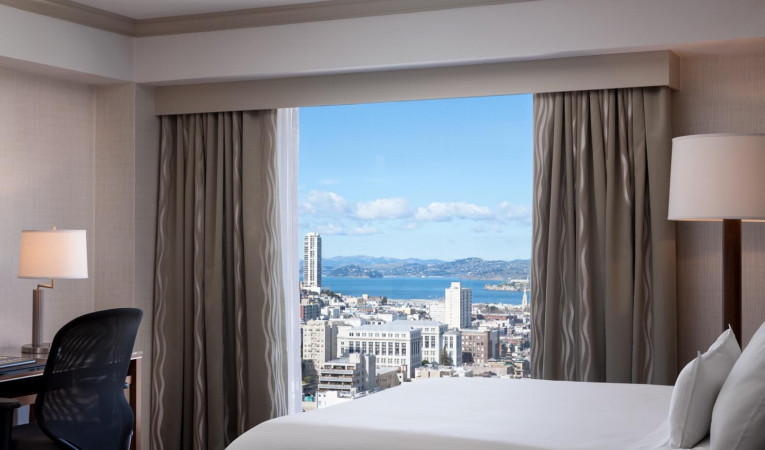 guest room with city views