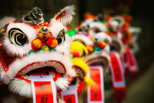 traditional colorful chinese lion