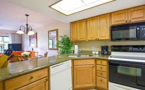 Full kitchen with appliances & wooden cabinets