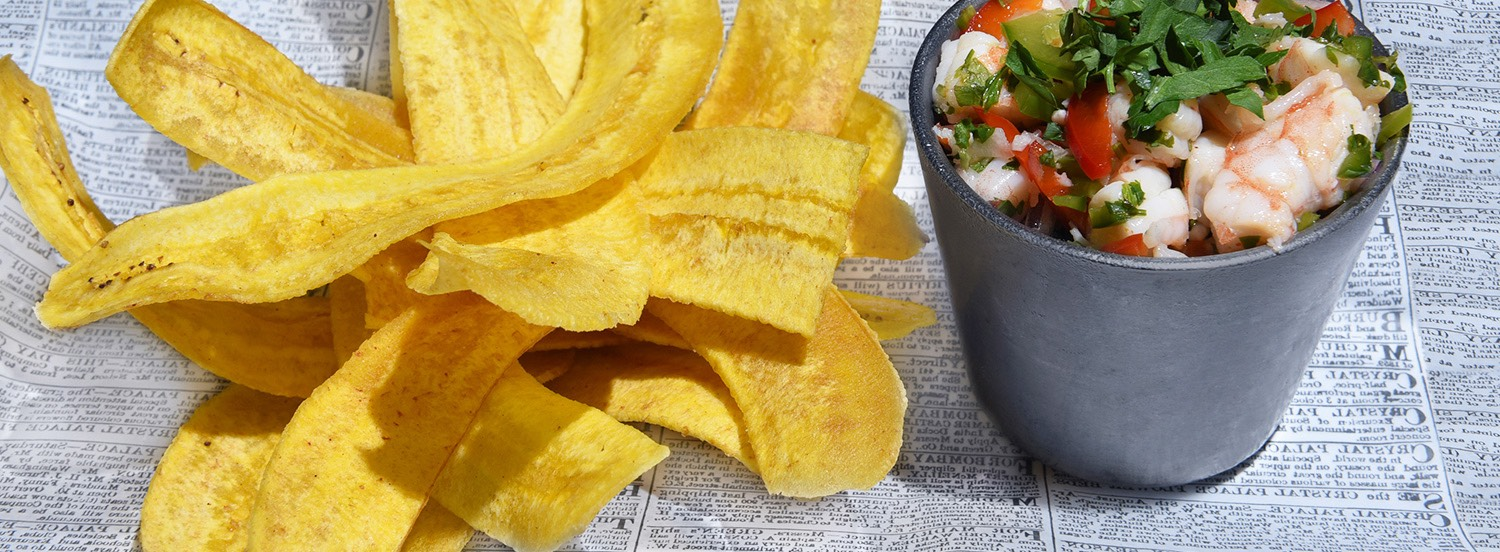 Plantain chips with ceviche dip