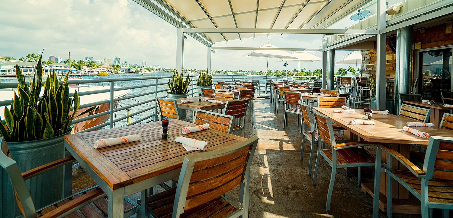 Outdoor restaurant terrace seating
