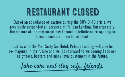Restaurant Closed. Out of an abundance of caution during the COVID-19 crisis, we previously suspended all services at Pelican Landing. Unfortunately, the closure of the restaurant has become indefinite as re-opening in these uncertain times is not ideal. We will be re-imagined in the future and look forward to welcoming back our neighbors in the future.