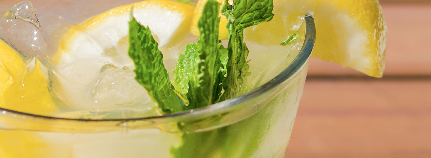 Close up of mint leaves in cocktail