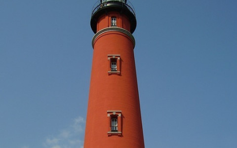 Close Up View of the Ponce Inlet Lighthouse in Daytona Florida