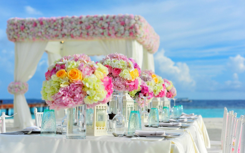 Perrys ocean edge Wedding bouquet setup
