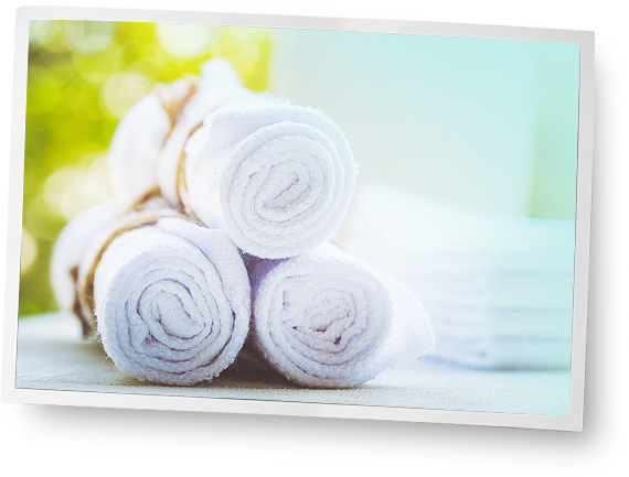 rolled up towels room amenities