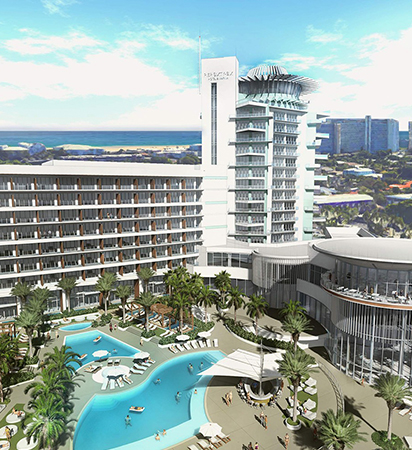 new design for the pier 66 hotel with modern buildings and a large outdoor pool area with two pools