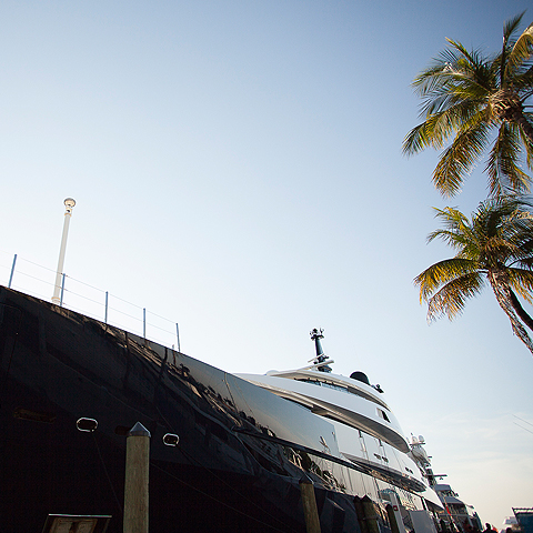bottom view of a yacht docked