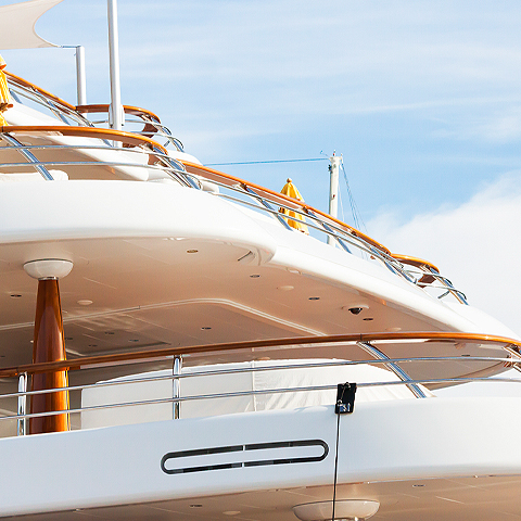 view of the stern of a yacht