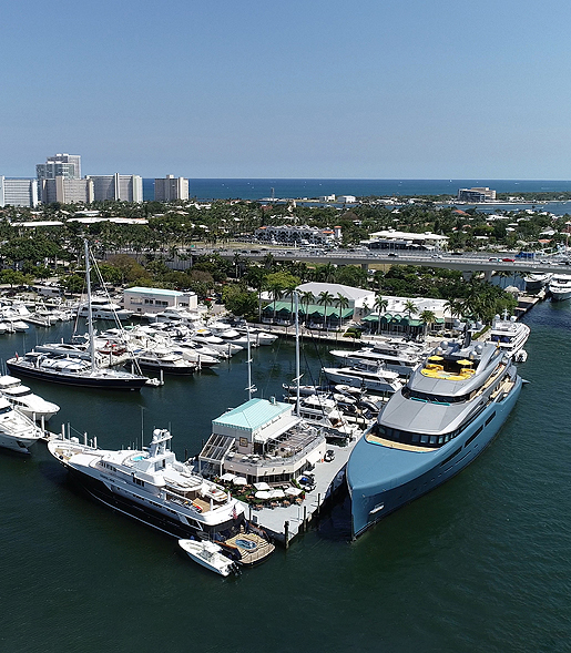aerial view of the Pier 66 marina and hotel tower