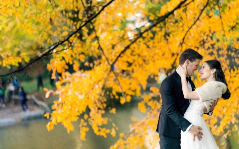 couple underneath a yellow tree