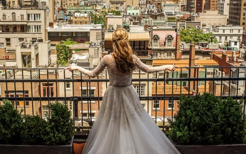 bride looking at the city