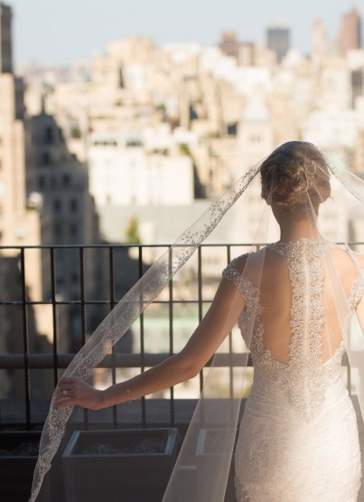 bride looking at city
