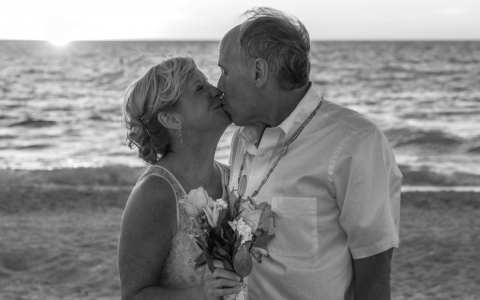 Black & White Photo of Middle Aged Wedding Couple