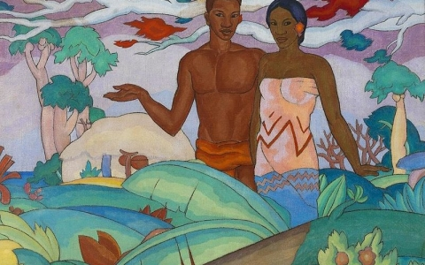Hawaiian Boy and Girl Mural by A. T. Manookian