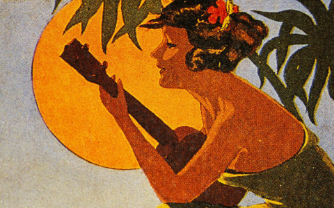 Hawaiian Woman Playing Ukelele Against a Background of Palm Trees and a Full Moon