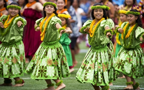 Young Hula Dancers in Costume