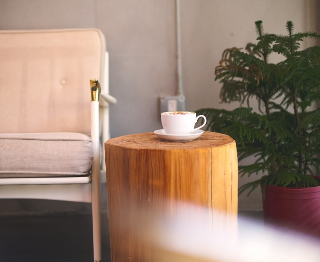 chair with side table and coffee